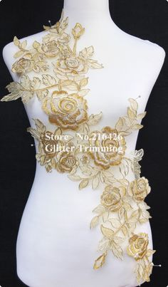 Find More Lace Information about Free Shipping 1PC x Long Gold/Cream Flower Embroidery Neckline Lace Applique Trims Collars Organza Base Sewing DIY Crafts BNC43E,High Quality craft thread,China craft diy Suppliers, Cheap craft peacock from Glitter Trimming's Store on Aliexpress.com Brush Embroidery, Lace Applique, Embroidery Applique, Floral Embroidery, Beaded Embroidery, Machine Embroidery Patterns, Sewing Patterns, Diy And Crafts Sewing, Sewing Diy