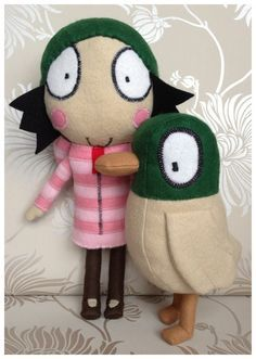 Beautiful handmade Sarah and duck toys, inspired by Cbeebies. This listing is for 2 toys, offering a 5 pounds discount. Sewing Projects For Kids, Diy Craft Projects, Projects To Try, Art For Kids, Crafts For Kids, Arts And Crafts, Sarah Duck, Dolly Mixture, Duck Toy