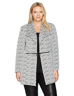3b6a872662f Women s Plus Size Jacquard Topper with Zipper Detailing Leopard Coat