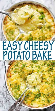 Creamy oven baked scalloped potatoes with cheese are the BEST EVER potato side dish. Serve with your favorite protein and a simple salad. #potatobake @sweetcaramelsunday