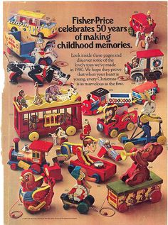 Vintage Fisher Price ads 50 years of making childhood memories Fisher Price Toys, Vintage Fisher Price, 1980s Toys, Retro Toys, 1980s Childhood, Childhood Memories, Sweet Memories, Vintage Games, Vintage Toys