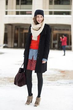 Caroline Rooney piles on the layers with finesse. #red #pattern #black #chambray