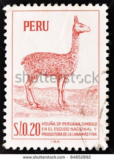 PERU - CIRCA 1979:A stamp printed in Peru shows a llama, widely used as a pack and meat animal by Andean cultures since pre-hispanic times, circa 1979.
