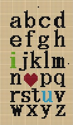 Free Cross Stitch Chart - Lowercase I Love You Alphabet Cross Stitch Letters, Cross Stitch Samplers, Cross Stitch Charts, Cross Stitch Designs, Cross Stitching, Cross Stitch Embroidery, Loom Patterns, Beading Patterns, Embroidery Patterns