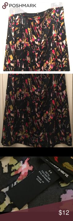 Lane Bryant splash skirt size 26 Black background with several colors. At my knee. I'm 5'8. Looks great year round with boots and tight or sandals. Worn with the green and fuchsia cardigans also listed. Lane Bryant Skirts Midi