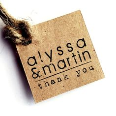 Favor tags - Rustic wedding - Tags customized with your names or logos - Set of 35 - Kraft tags - Handmade - Prestrung tags