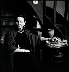 "Elliott Erwitt FRANCE. Paris. 1949. The French writer Simone de BEAUVOIR, author of ""The Second Sex"", at home."