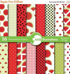 80% OFF Watermelon digital papers Picnic by AMBillustrations