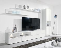 Modern Tv Cabinet Awesome Modern Wall Storage System In Matt White Tv Unit Tall Cabinet Tv Living Room Shelves, Living Room Storage, Living Room Tv, Tv Wall Design, Design Case, House Design, Tv Stand With Storage, Tv Storage, Cabinet Storage