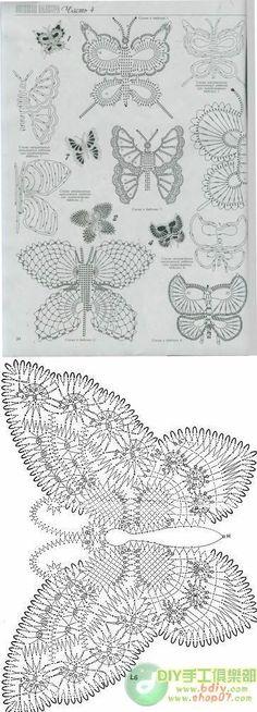Well who doesn't love a crocheted butterfly?Ok, I do have one friend who's afraid of butterflies but she's nuts.-)Well who doesn't love a crocheted butterfly?Ok, I do have one friend who's afraid of butterflies but she's nuts. Crochet Motifs, Crochet Diagram, Freeform Crochet, Crochet Art, Thread Crochet, Irish Crochet, Crochet Doilies, Crochet Stitches, Crochet Butterfly