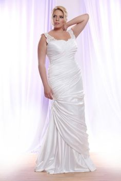 Ruched Plus Size Wedding Dress with lace Straps