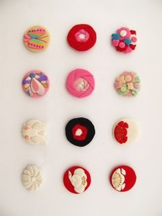 buttons made from Kimono fabric gorgeous