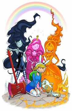Marceline, Princess Bubblegum(PB), Flame Princess, Fionna The Human and Cake The Cat