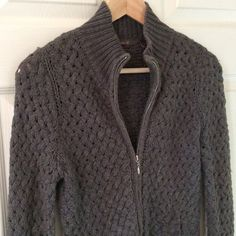Chunky Knit Zippered Sweater Cozy and soft. Charcoal grey open chunky knit. Zippered front. Two flannel lined front pockets. Some pilling in front highlighted in pictures. Not much stretch so fits like a true small. Heather B Sweaters Cardigans