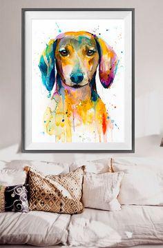 Dachshund 2 watercolor painting print, Dachshund art, animal illustration, animal watercolor, animal portrait, dog art, dog print  Buy two Get one FREE!