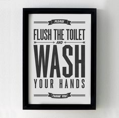Bathroom wall decor PRINTABLE art,flush the toilet sign,wash hands sign,wash…