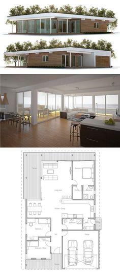 Home Plans, Floor Plans One Level House Plans, House Floor Plans, Modern House Plans, Small House Plans, Modern Minimalist House, Sims House, House Layouts, Future House, Building A House