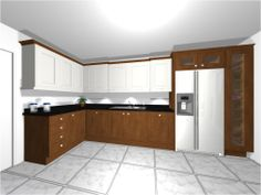 CAD Plans for walnut and painted bespoke kitchen.