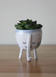 Let the littlest elephant's trunk keep a tiny plant upright. #etsy
