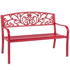 "BCP 50"" Patio Garden Bench Park Yard Outdoor Furniture Steel Frame Porch Chair - Walmart.com"
