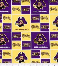 "East Carolina University Pirates Cotton Fabric 43"" - Block"