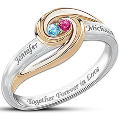 Together Forever In Love Personalized Birthstone Ring Jewelry