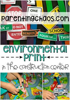 FREE Printable: Environmental Print for Construction Play Enviromental Print in the Construction Center: FREE Printable! Block Center, Block Area, Community Helpers Kindergarten, Opening A Daycare, Environmental Print, Block Play, Name Activities, Dramatic Play Centers, Transportation Theme