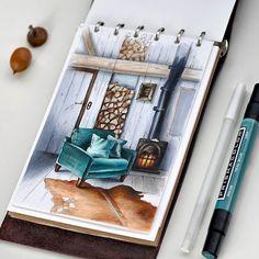 Хотелось хоть как-то применить этот цвет) Сколько себя помню не любила эти оттенки зеленых, явно не мое. #sketch #sketchbook #sketchaday #illustration #sketchmarker #copic #copicsketch #copicart #liner #colorpallet #colorpencils #prismacolor #art #drawing #sketcher #room #interior #design #dalerrowney #markers #house #autumn #green