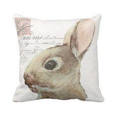Pillow Cover Bunny Rabbit Easter or Nursery Decor