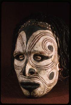 "centuriespast: "" Head, painted clay over skull, human hair, cowrie-shell eyes, Sepik River Sepik (river) — East Sepik — Papua New Guinea American Museum of Natural History "" Arte Tribal, Tribal Art, African Masks, African Art, Tiki Head, Tiki Art, Cool Masks, Art Sculpture, Masks Art"