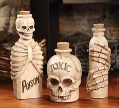 Eerie poison and toxic skeleton bottles of bones appear to have been unearthed from the graveyard, who knows what these Skeletal Bottles of bones and skulls pos
