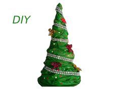 Árbol navideño hecho con tela, DIY, Christmas tree made with fabric.