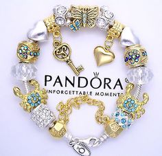 Authentic Pandora Sterling Silver Charm Bracelet with Plated & Toned Charms