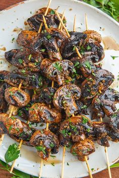 Grilled mushroom skewers with balsamic garlic - delicious food # balsamic # balsamic . - Grilled mushroom skewers with balsamic garlic – delicious food # balsamic - Marinated Mushrooms, Stuffed Mushrooms, Roasted Mushrooms, Mushrooms On The Grill, Cook Mushrooms, Balsamic Mushrooms, Garlic Mushrooms, Vegetarian Recipes, Cooking Recipes