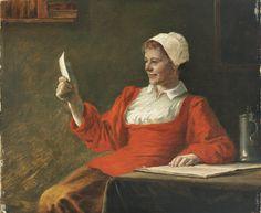 ✨  August Rieper, German (1865-1940) Sign. und 1890 dat. Lesende junge Frau freut sich. Öl/Holz. 24,5 x 30 cm. R