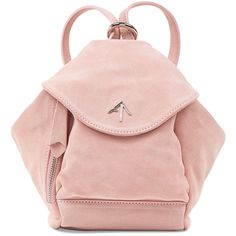 Manu Atelier Rose Pink Suede Fernweh Mini Backpack ($455) ❤ liked on Polyvore featuring bags, backpacks, mini backpacks, strap bag, shoulder strap backpack, backpack bags and strap backpack