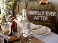 Bottle and champagne flag for table seating