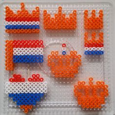 DIY voor Koningsdag - CCHOBBYWINKEL.NL Fuse Beads, Perler Beads, Diy And Crafts, Crafts For Kids, Iron Beads, Diys, Cross Stitch, Invitations, My Love