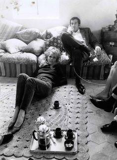 Jane Fonda and Roger Vadim drinking coffee.