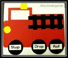 Miss Kindergarten: Fire Safety Week. Stop, drop and roll fire truck craft. Miss Kindergarten, Daycare Crafts, Classroom Crafts, Kindergarten Activities, Preschool Activities, Classroom Setup, Fall Preschool, Children Crafts, Preschool Printables