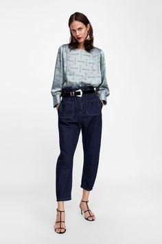 Bild 1 von OBERTEIL MIT KETTENMUSTER von Zara Zara Women, Mom Jeans, Ideias Fashion, Top, Normcore, Chain, How To Wear, Clothes, Shopping