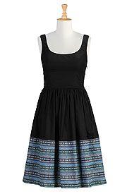 I <3 this Colorblock stripe hem poplin dress from eShakti