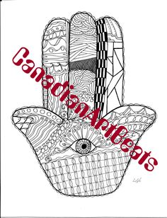 Coloring Page Downloadable Hamsa Hand Printable Art by CanadianArtBeats on Etsy