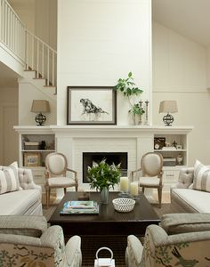 Furniture, Farmhouse Formal Living Room Ideas With White Elegant Couch Set Also Grey Armchairs With Natural Fabric Pattern Also Dark Wooden Mahogany Coffee Table Also White Adorable Fireplace With Elegant Mantelpiece: Formal Living Room Furniture and Ideas Especially for you