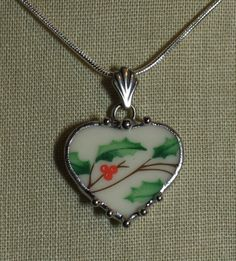 Broken China Jewelry Lenox Christmas Holly Sweet by robinsrelics, $28.00