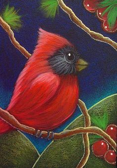 Art: RED CARDINAL BIRD IN HIS FAVORITE BRANCH by Artist Cyra R. Cancel