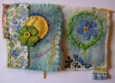 Although I am a bit behind with the challenge I worked a bit on the back of my pages. The left page is the back of my second page 1 with the lovely forget- me-not fabric Els send me. I made a lucky clover for her act of kindness.. It is next to what was my first page, but is now an extra page preceding my 3 pages 3. Well that sounds complicated,but I hope you get the picture.