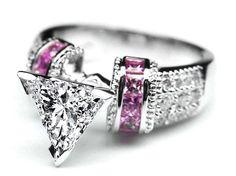 Trillion Diamond Engagement Ring Square Pink Sapphire Band