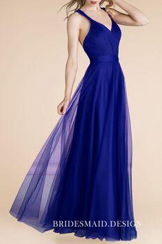 e0bf2842b47b Grape Tulle Overlay Deep V Neck Wide Straps Open Back A-line Long Bridesmaid  Dress