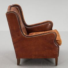 Wonderful shape to this early leather chair from DC member Foster and Gane Leather Furniture, The Fosters, Brown Leather, Armchair, Upholstery, Textiles, Brass, Shape, Antiques